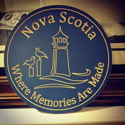 """Carved Wooden round 16"""" """"NS Memories"""" OUTDOORS"""