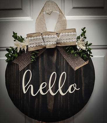 "Round Wooden Sign ""Hello""  15"""