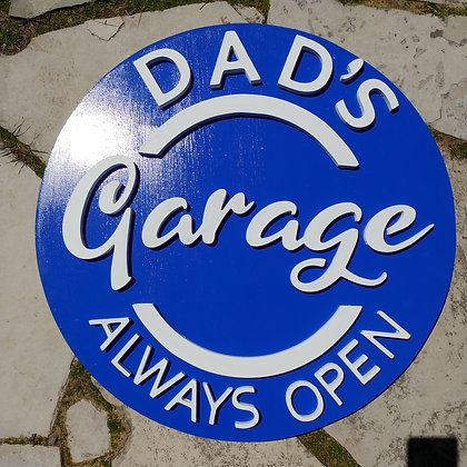 "3D sign - Garage - personalized 23.5"" round fully finished"