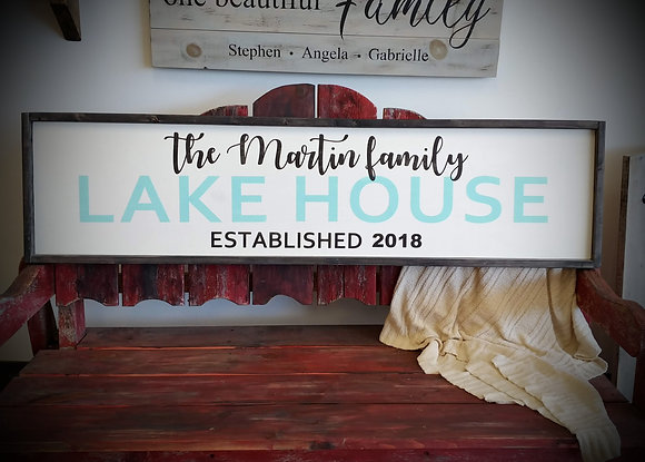 "Framed rustic sign - Lakehouse ""personalize""  fully finished"