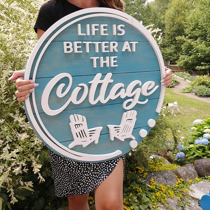 "3D sign - Life is Better Cottage Chairs -  23.5""  round fully finished"