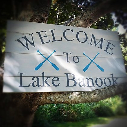 """Rustic Wooden Sign """"Welcome - Lake""""   18""""x32"""""""