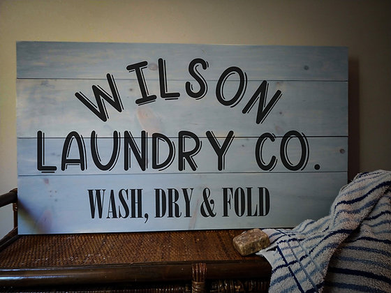 "Rustic Wooden Sign project ""Arched Laundry Co""   18""x32"""