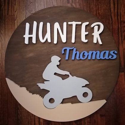 "3D  Sign Project "" 2 name ATV"" 23.5"" round DIY"
