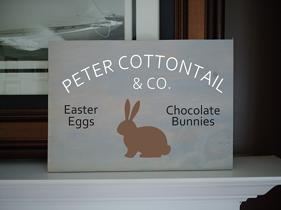 """Rustic Wooden Plank """"Peter Cottontail""""   12""""x16"""""""