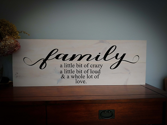 "Wooden project 11""x32"" ""Family ...a little bit"""