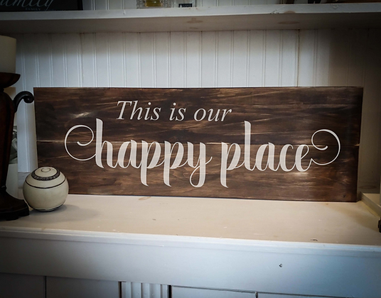 """Rustic Wooden Sign Project """"Happy Place""""  11""""x 32"""""""