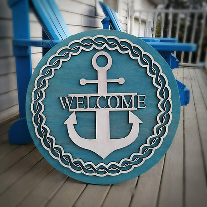 """3D Porch Plaque - """"welcome anchor""""   23.5""""  fully finished"""