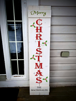 """""""Merry Xmas - Personalize"""" Large Porch Sign Project 11x48"""