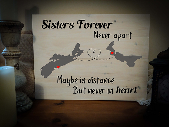"""Rustic Wooden Sign project """"2 Maps / Sisters Forever""""  18""""x24"""""""