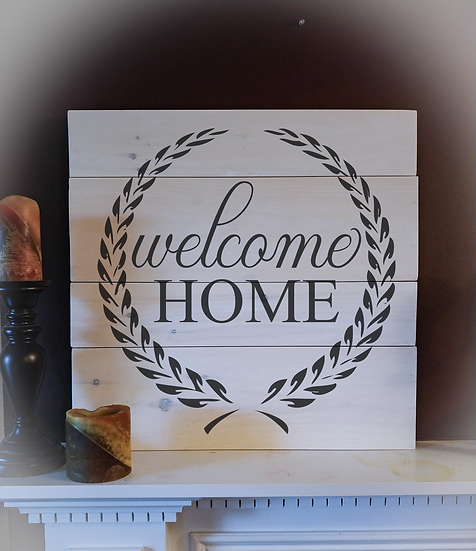 """Rustic Wooden Sign """"Welcome Home"""" 23""""x23"""""""