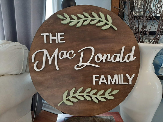 """3D wooden sign """"Surname"""" Family  23.5"""" round"""