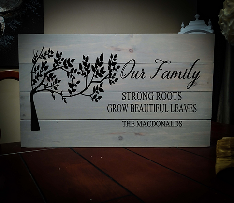"Rustic Wooden Sign Project ""Our Family - Strong Roots"" 14""x24"""