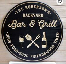"Custom Carved Wooden round 16"" ""Bar & Grill"" P.White"