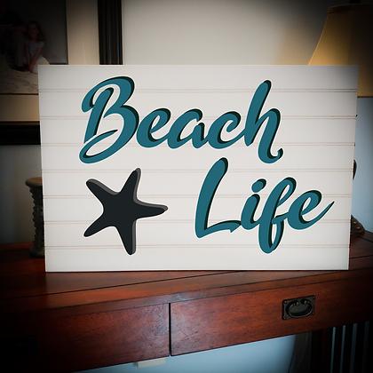 "3D wooden sign project ""Beach Life""   16""x24"" beadboard"