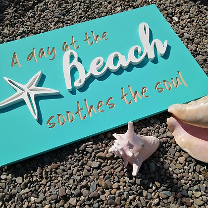 "Carved / 3D sign - Beach -  16""x24""  MDF fully finished"