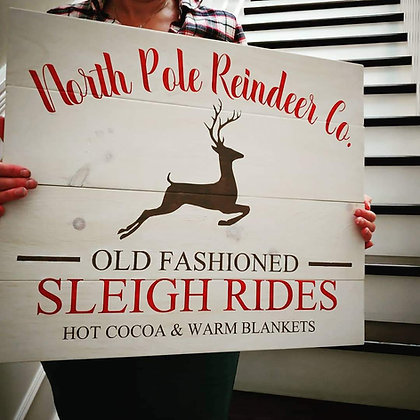 """Rustic Wooden project - """"North Pole Sleigh Rides""""20x24"""