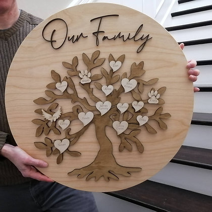 "3D sign - ""Family Tree""   23.5""round   fully finished"