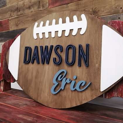 "3D sign - ""Football 2 name"" ""23""x36""  fully finished"
