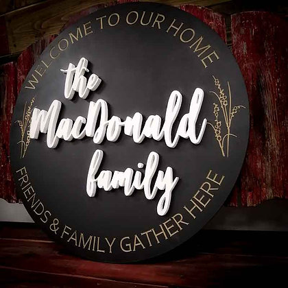 "3D/ carved MDF Sign Project "" Welcome-Family-Wheat"" 23.5"" round DIY"