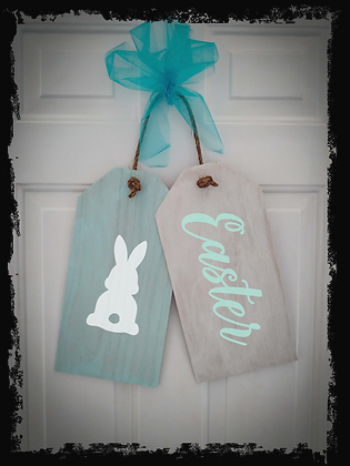 """Wooden Door Tags """"Easter / Bunny"""" 17""""x 16"""" (attached tag size)"""