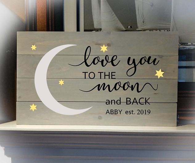 14x24 moon & back rustic sign