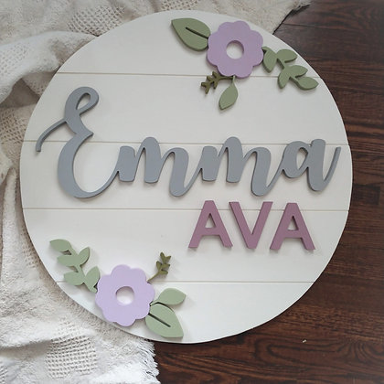 "3D sign - CUSTOM 3 Names - double floral 23.5"" beadboard round fully finished"