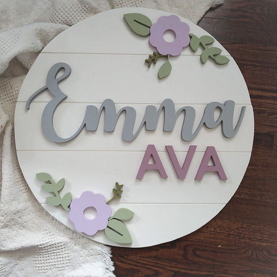 """3D wooden sign project """"Two Names"""" """"double floral""""  23.5"""" round slat"""