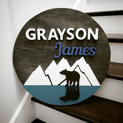 "CUSTOM 3D sign - Bear reflection /THREE Names 23.5"" round fully finished"