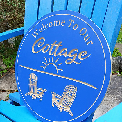 """Carved Wooden round 16"""" """"Welcome to the Cottage"""""""
