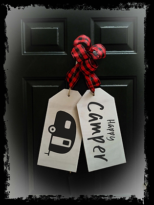 """Wooden Door Tags """"Happy Camper"""" fully finished"""
