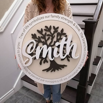 "3D/ carved MDF Sign Project "" Tree of Life - Surname"" 23.5"" round DIY"