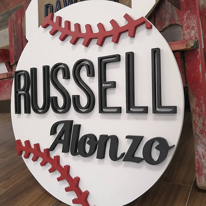 """3D project 23.5"""" round MDF """"Two names - Baseball"""""""