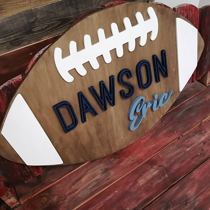 """3D  Sign Project """" 2 name football"""" 22x36 approx"""" DIY"""
