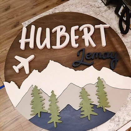 "3D sign - ""Mountains and plane""  Two Name   23.5""round   fully finished"