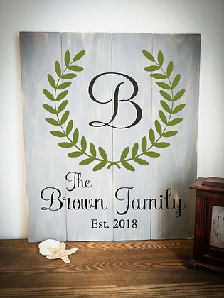 """Rustic Wooden Sign Project """"Monogram with Laurel"""" 20""""x24"""""""
