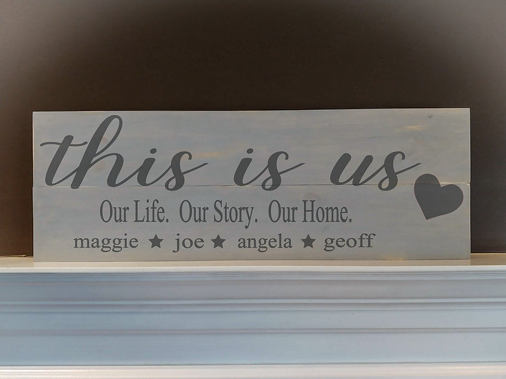 """Rustic Wooden Sign Project """"This Is Us""""  11""""x 32"""""""