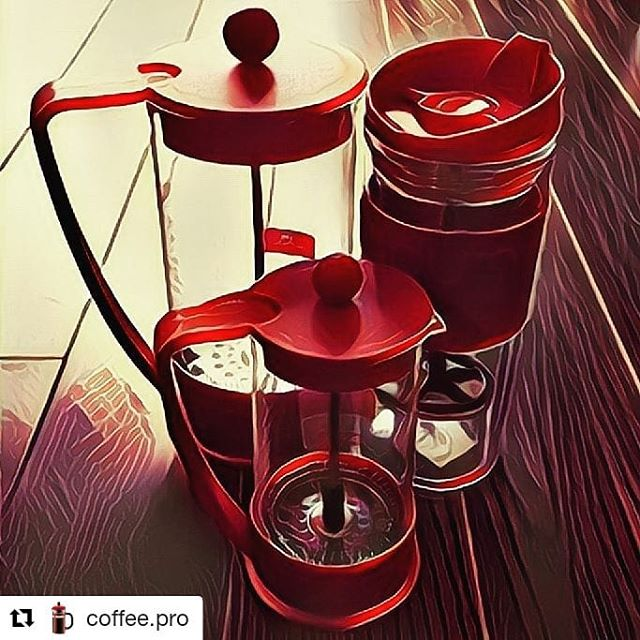 French press. Red. Three ways