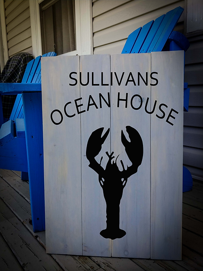 """Rustic Wooden Sign Project """"Ocean House""""   18""""x24"""""""