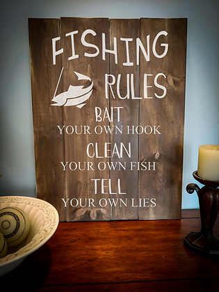 """Rustic Wooden Sign Project """"Fishing""""   18""""x 24"""""""
