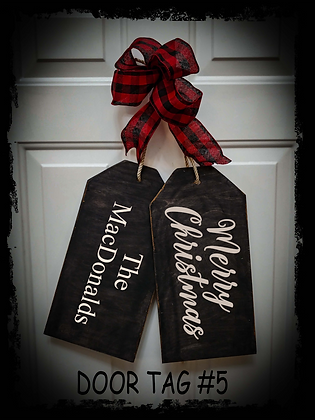 """Wooden project Door Tags """"Merry Xmas / Surname"""""""