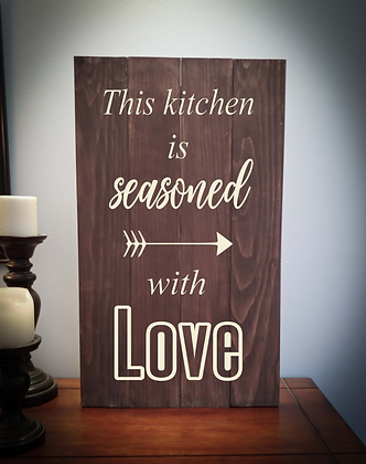 "Rustic Wooden Sign Project ""Seasoned with Love"" 14""x24"""