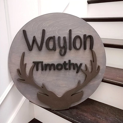 """3D  Sign Project """" 2 name antlers"""" 23.5"""" round DIY"""