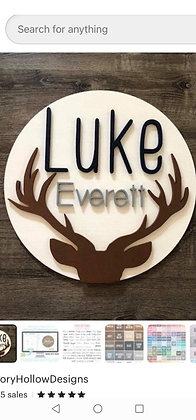 """Shayna- CUSTOM 3D sign - 23.5"""" Two Name + antlers"""