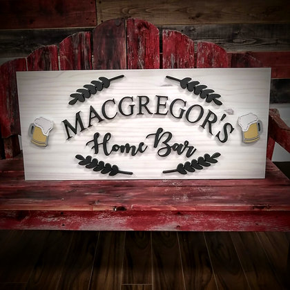 "3D sign - Home Bar -  15""x36"" fully finished"