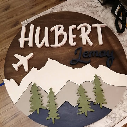 """3D  Sign Project """" 2 name plane / mountains"""" 23.5"""" round DIY"""