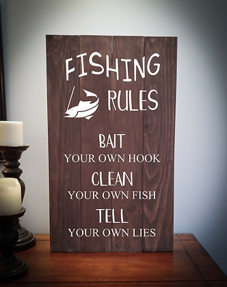 """Rustic Wooden Sign project """"Fishing Rules"""" 14""""x24"""""""