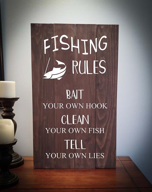 14x24 fishing rules rustic sign