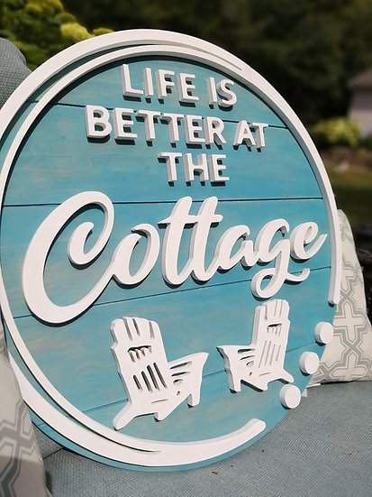 """CUSTOM 3D sign - """"better at the Camp /bottles"""" -  23.5""""  round fully finished"""