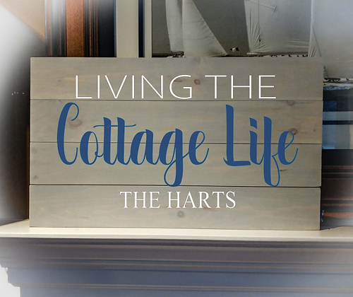 "Rustic Wooden Sign Project""Cottage Life"" 14""x24"""